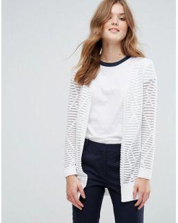 Longline Cardigan In Stripe