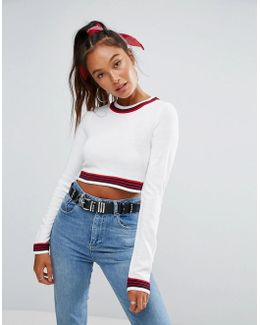 Sweater In Super Crop With Tipping