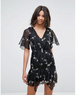 Floral V Neck Tea Dress