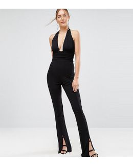 Jersey Jumpsuit With Halter Neck And Plunge Detail