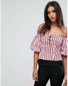 Tie Front And Stripe Top