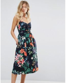 Tropical Print Tie Front Dress