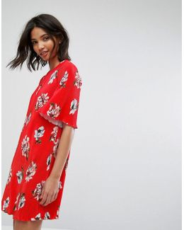 Floral Flute Sleeve Dress