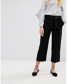 Tailored Cropped Hoop Pants