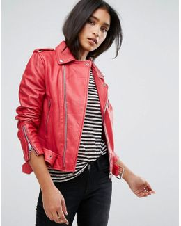Zip Detail Leather Jacket