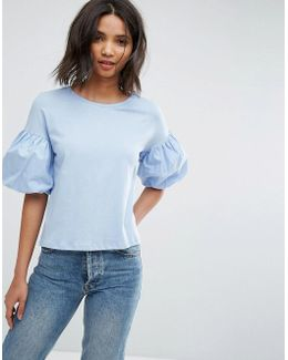 Ruffle Bubble Sleeve T-shirt