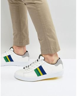 Lawn Stripe Leather Trainers In White