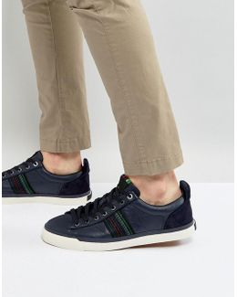 Seppo Leather Stripe Trainers In Navy