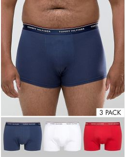 Plus Stretch 3 Pack Trunks In Red/white/navy