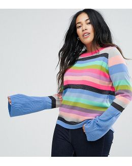 Curve Sweater With Multi Stripe And Fluted Sleeves