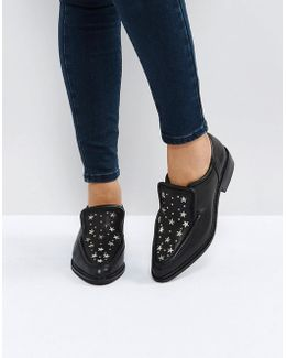 Nancy Black Star Studded Leather Flat Shoes