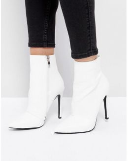 Harlee White Pointed Ankle Boots