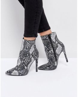 Harlee Snake Print Pointed Ankle Boots