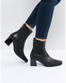 Ronda Black Leather Ankle Boots