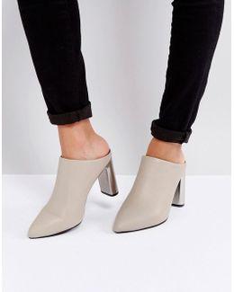 Odessa Nude Leather Heeled Mules
