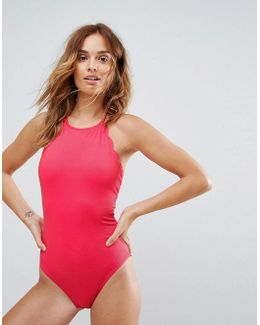 Scallop Edge Neck Swimsuit