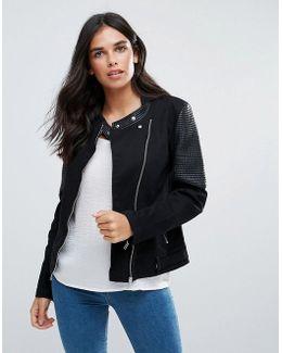 Fabia Collarless Biker Jacket