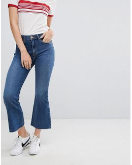 Cropped Flare Jean With Raw Hem