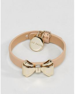 Curved Bow Leather Bracelet