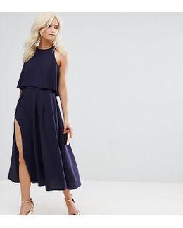 Petite Crop Top Midi Dress With Thigh Split
