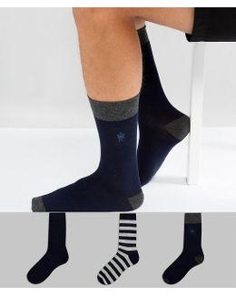 3 Pack Socks Stripe Print