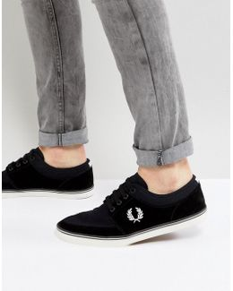 Stratford Suede And Twill Plimsolls In Black