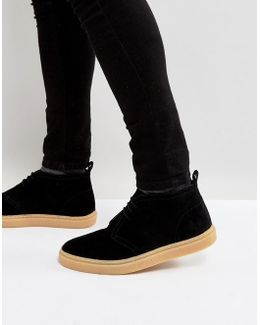 Hawley Mid Suede Desert Boots In Black