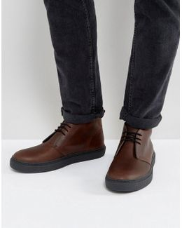 Hawley Mid Leather Desert Boots In Tan