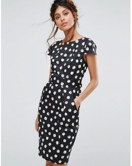Closet Cap Sleeve Midi Dress With Pocket Detail In Spot
