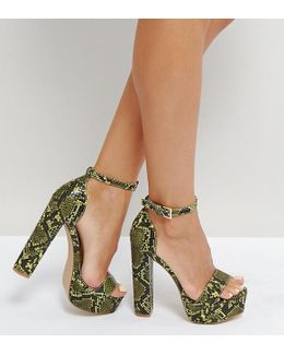 Platform Heeled Snake Print Sandal