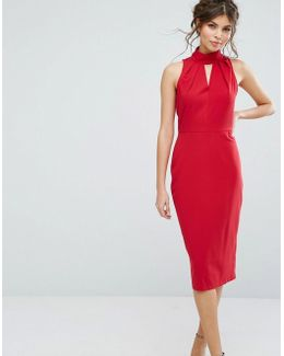 Closet High Neck Midi Dress With Keyhole Detail