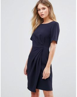 Closet Cap Sleeve Dress With Wrap Skirt And Pleat Detail