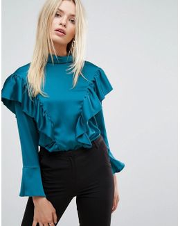 Closet Blouse In Satin With Frill Detail