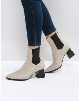 Ronda Stone Leather Ankle Boots