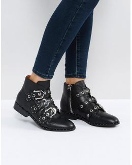 Maxwell Black Studded Flat Ankle Boots