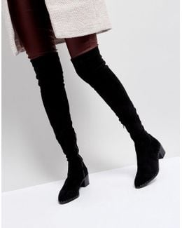 Bianca Black Studded Over The Knee Boots
