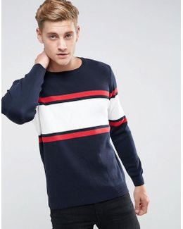 Jumper With Colour Block Stripe In Navy