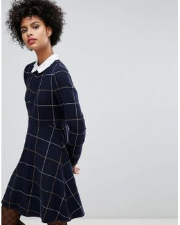Big Checked Wool Dress With Embroidered Collar