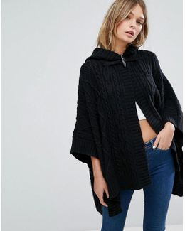 Cable Knit Cape With Leather Buckle Detail