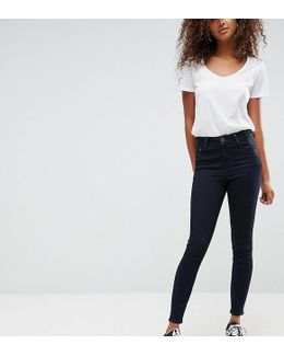Ridley High Waist Skinny Jeans In Indigo With Contrast Godet Waistband Inserts