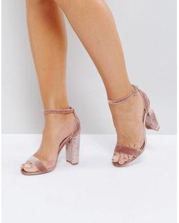 Carrson Blush Velvet Barely There Sandals