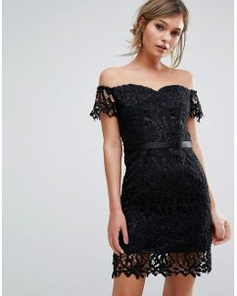Lace Bandeu Mini Dress With Sweetheart Neck
