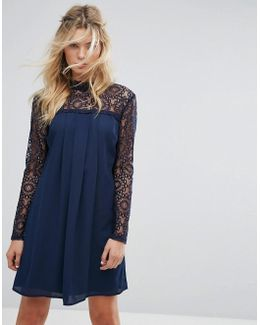 High Neck Swing Dress With Lace Upper
