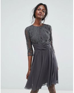 Ruched Waist Lace Midi Dress With 3/4 Length Sleeve