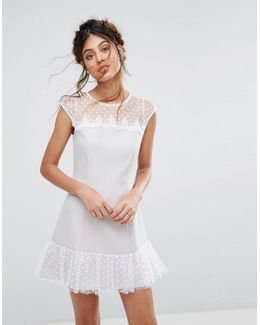 Petite Spot Mesh Shift Dress With Pep Hem