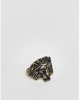 Lion Head Ring In Burnished Gold