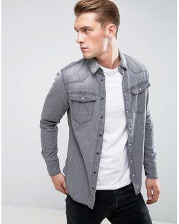 Gray Denim Western Shirt