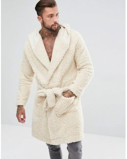 Hooded Dressing Gown In Borg