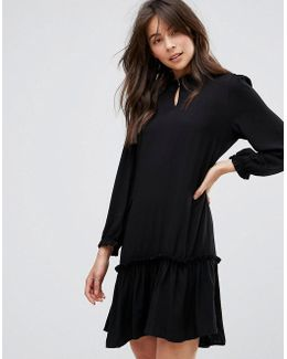 Woven Dress With Frill Hem
