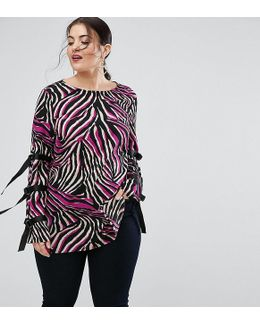 Tunic Top In Abstract Print With D Rings